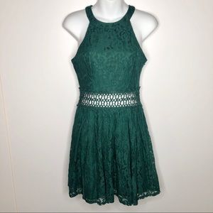 Francesca's Lace Fit Flare Mini Dress Cut Out Mid